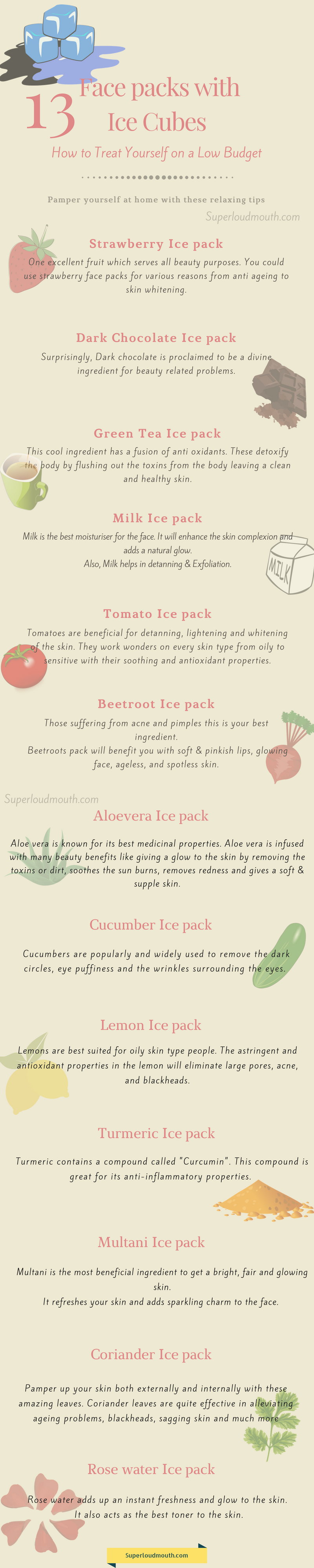 diy ice cube face packs for glowing skin